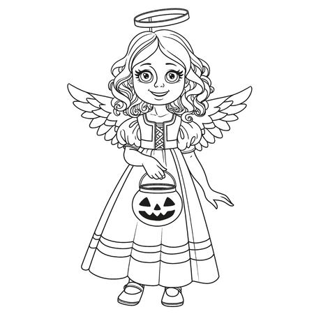 Cute girl in angel costume holding a pumpkin bag for sweets  trick or treat outlined for coloring page