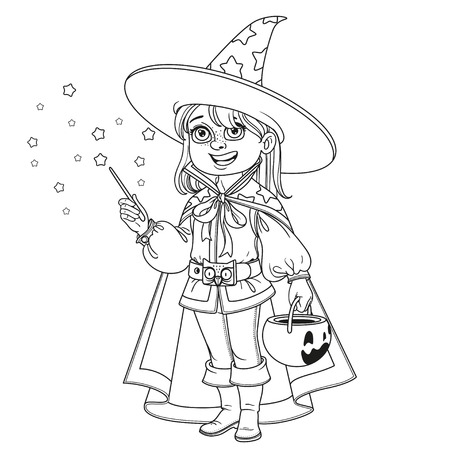 Cute boy in Magician costume with a pumpkin bag for sweets trick or treat outlined for coloring page