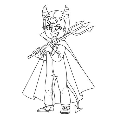 Cute boy in overalls devil costume with a trident in his hand  trick or treat outlined for coloring page Illustration