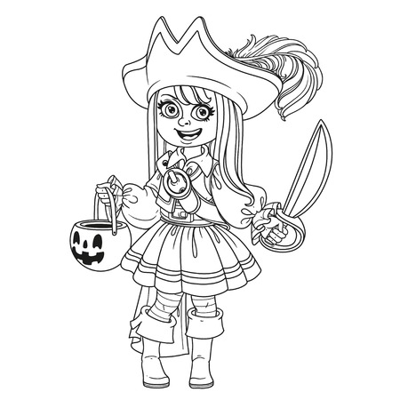 Cute girl in pirate costume with a pumpkin bag for sweets trick or treat outlined for coloring page