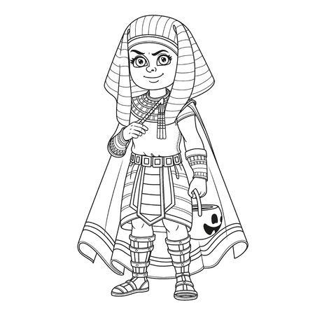 Chico guapo en traje de faraón egipcio con una bolsa de calabaza para dulces truco o trato delineado para colorear página Foto de archivo - 85428041