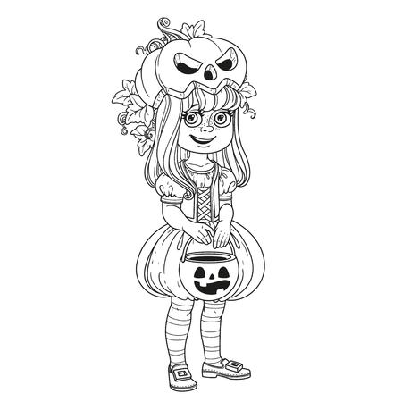 과자 호박 가방과 호박 의상을 입은 귀여운 소녀 트릭이나 치료 페이지에 대한 설명을 치료 일러스트