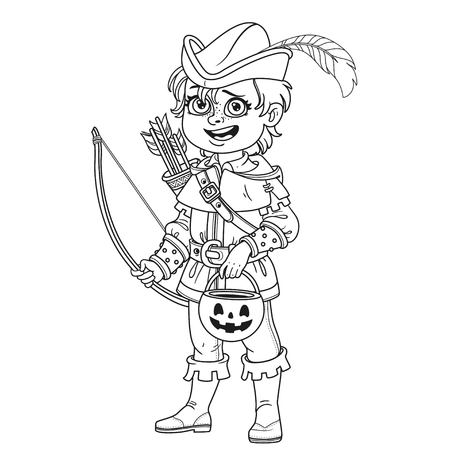 Cute boy in Robin Hood costume with a pumpkin bag for sweets trick or treat outlined for coloring page Illustration