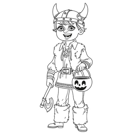 Cute boy in viking costume with a pumpkin bag for sweets trick or treat outlined for coloring page