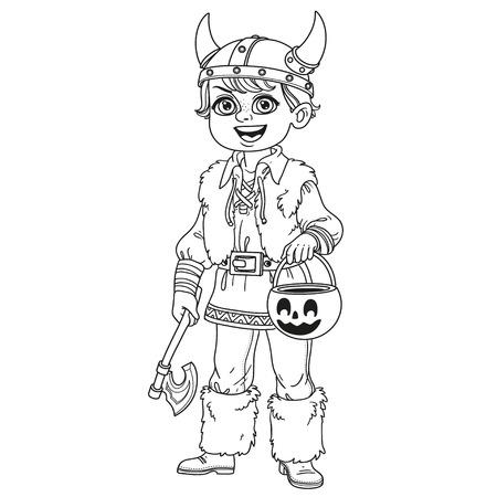 Netter Junge in Wikinger Kostüm mit einer Kürbis Tasche für Süßigkeiten Süßes oder Saures umrissen für Malvorlagen Standard-Bild - 85316042