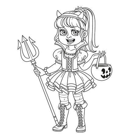 Cute girl in succubus costume with a pumpkin bag for sweets trick or treat outlined for coloring page