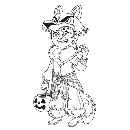 Cute boy in werewolf costume with a pumpkin bag for sweets trick or treat outlined for coloring page