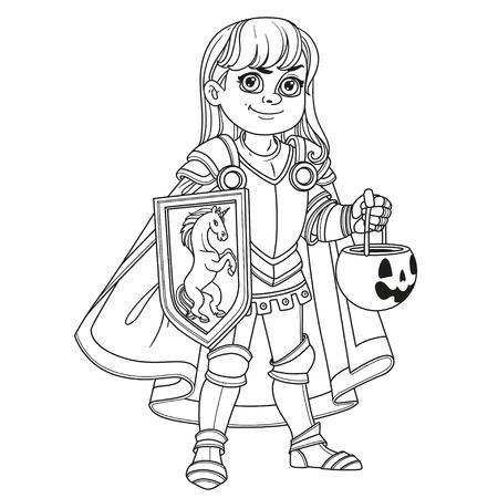 甘いもののためのカボチャバッグと鎧の衣装で騎士やパラディンのかわいい男の子は、着色ページのために概説されて治療