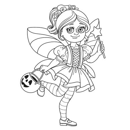 Cute girl in fairy costume holding a pumpkin bag for sweets  trick or treat outlined for coloring page