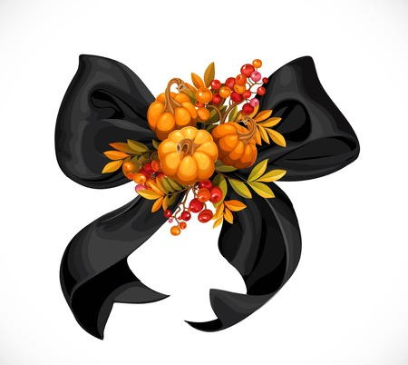 Black flirty bow decorated with small pumpkins and twigs of a viburnum or rowan object isolated on a white background Illustration