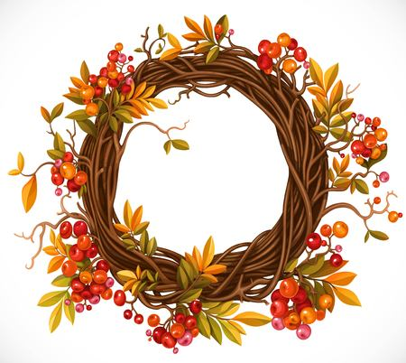 Autumn wreath of twigs, leaves, red berries and pumpkins illustration.