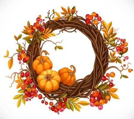 Autumn wreath of twigs, leaves, red berries and pumpkins isolated on white background