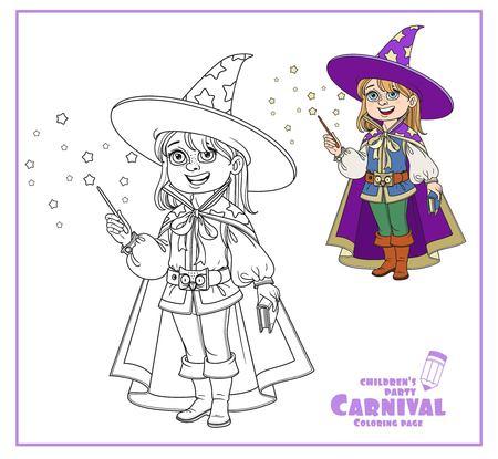 Netter Junge in Magier Kostüm Farbe und umrissen für ausmalbilder Standard-Bild - 86691347
