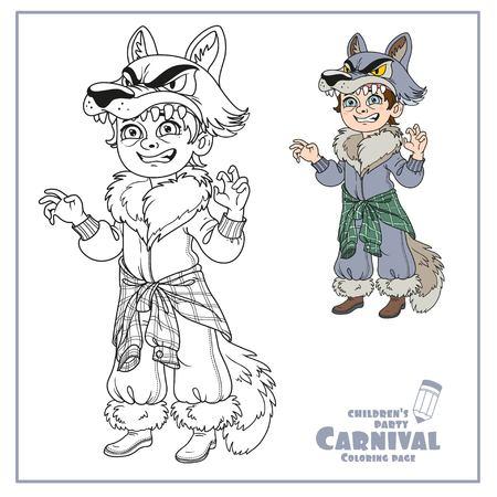 狼でかわいい男の子衣装の色、ページを着色の説明  イラスト・ベクター素材