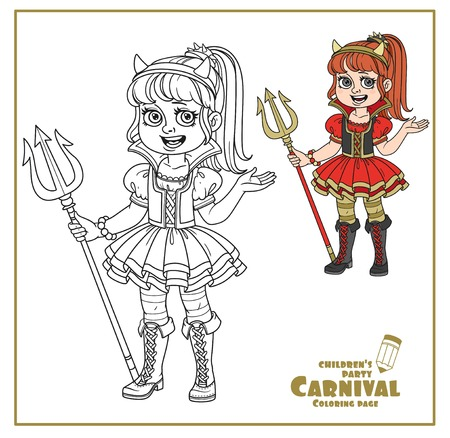 Cute girl in succubus costume color and outlined for coloring page