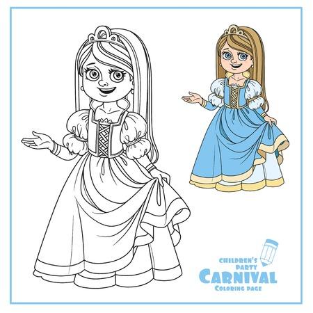 귀여운 소녀 공주 의상 색상 및 페이지 색칠하기위한 설명 스톡 콘텐츠 - 86691351