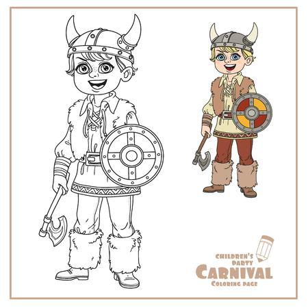 Chico lindo en color de traje vikingo y delineado para colorear Foto de archivo - 86691357