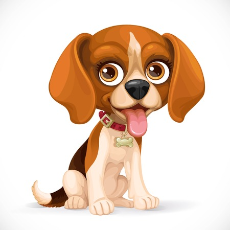 Cute cartoon lop-eared beagle little puppy sit on white floor isolated on a white background Illustration