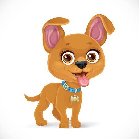 Cute cartoon kleine puppy geïsoleerd op een witte achtergrond Vector Illustratie