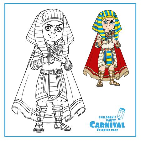 Cute boy in Egyptian Pharaoh costume color and outlined for coloring page Stock fotó - 86691364