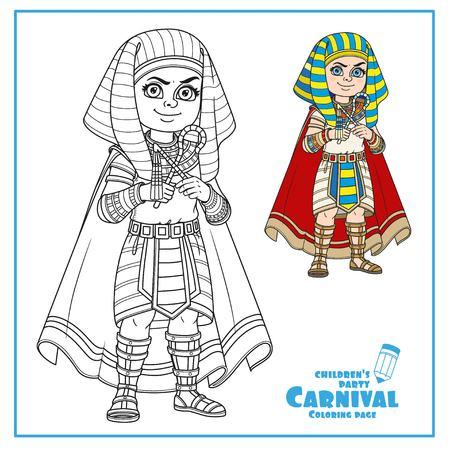 Leuke jongen in Egyptische Farao kostuumkleur en geschetst voor het kleuren van pagina