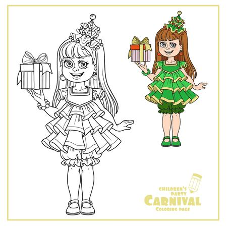 귀여운 소녀 새해 나무 드레스에서 선물 색상의 손으로 색칠하고 페이지 색칠하기위한 설명