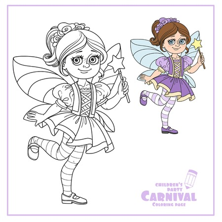 Cute girl in fairy costume color and outlined for coloring page