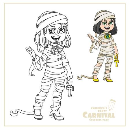 Cute girl in mummy costume color and outlined for coloring page