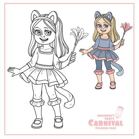 고양이 의상 색상의 귀여운 소녀와 색칠 공부 페이지에 대한 설명 일러스트