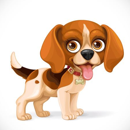 Cute cartoon lop-eared beagle puppy isolated on a white background