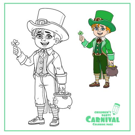 Cute boy in leprechaun costume with a pot of gold color and outlined for coloring page Illustration