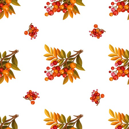 Seamless pattern from branches with leaves and red berries on white background Illustration