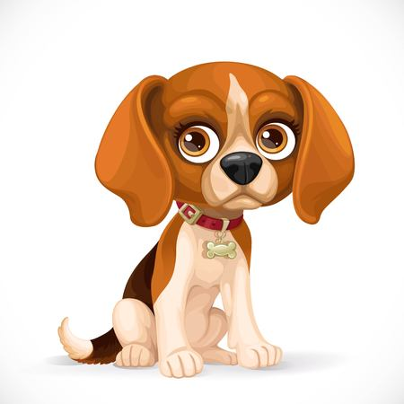 Cute cartoon lop-eared beagle puppy sit on white floor isolated on a white background Illustration