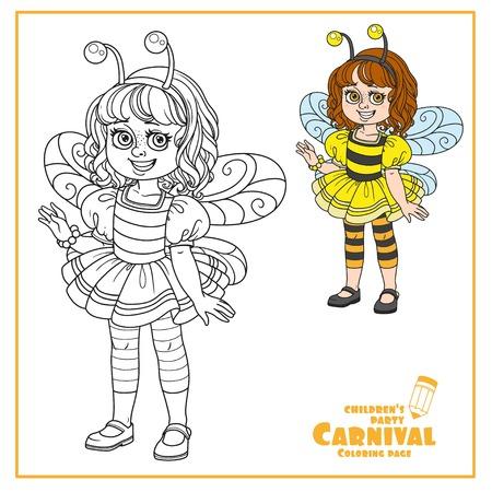 귀여운 소녀 꿀벌 의상 색상 및 페이지 색칠하기위한 설명