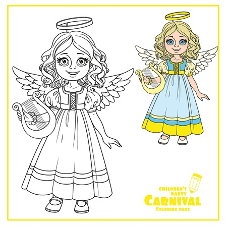 Cute girl en costume de l & # 39 ; ange de la mer et décrit pour la page de coloriage Banque d'images - 86691386