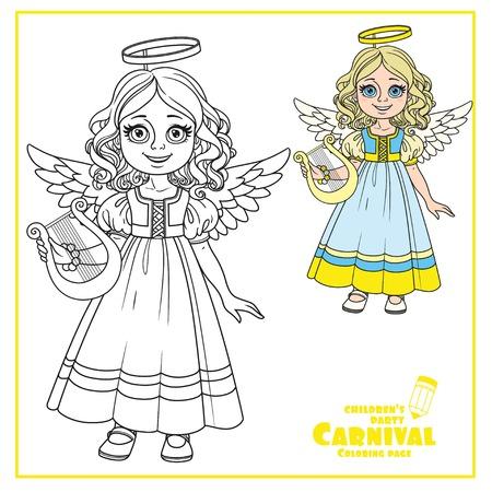 Leuk meisje in engel kostuum kleur en geschetst voor kleurplaat