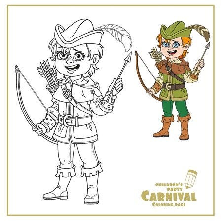 Cute boy in Robin Hood costume color and outlined for coloring page