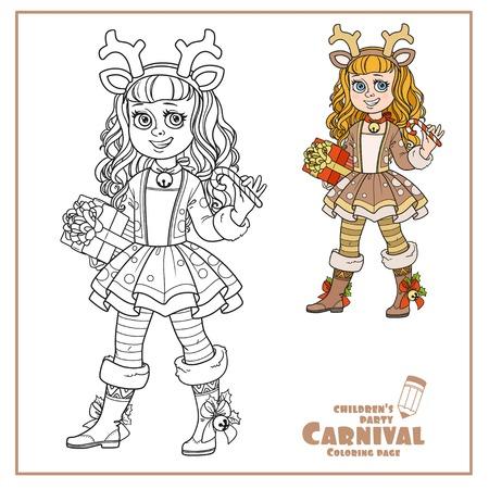 귀여운 소녀 새해의 사슴 의상 색상과 색칠 페이지에 대한 설명