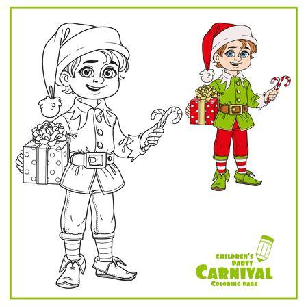 エルフ サンタさんの助手のかわいい男の子衣装の色、ページを着色の説明