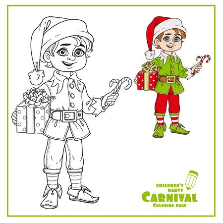 Cute boy in elf Santas assistant costume color and outlined for coloring page Illustration