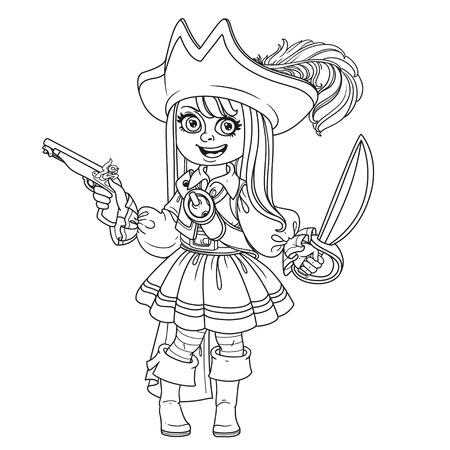 Leuk meisje in piraatkostuum dat voor het kleuren van pagina wordt geschetst