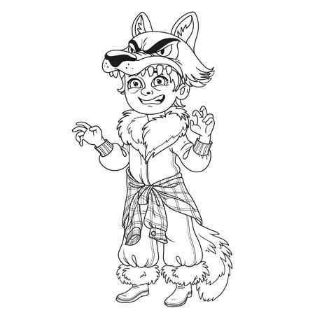 ページを着色の説明の狼の衣装でかわいい男の子。