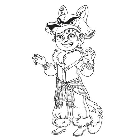 Cute boy in werewolf costume outlined for coloring page. 向量圖像