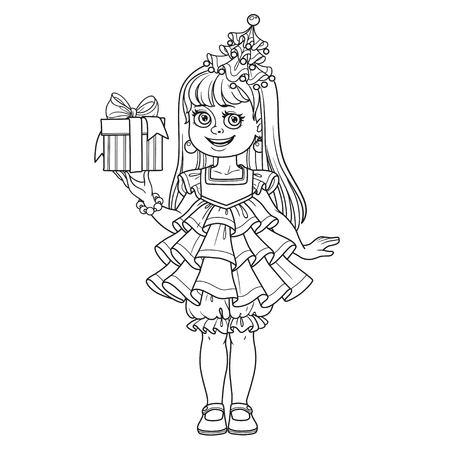 新年のツリーでかわいい女の子のページを着色の説明手のギフトを持つドレスします。  イラスト・ベクター素材