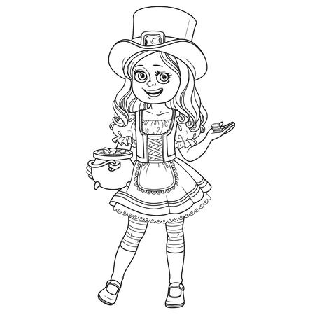 Cute girl  in leprechaun costume with a pot of gold outlined for coloring page,