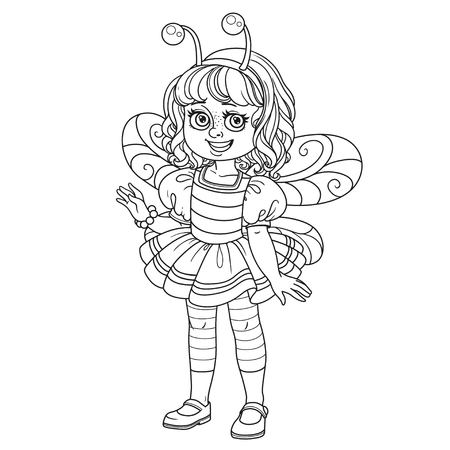Cute girl in bee costume outlined for coloring page Illustration