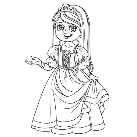 Cute girl in princess costume outlined for coloring page Иллюстрация