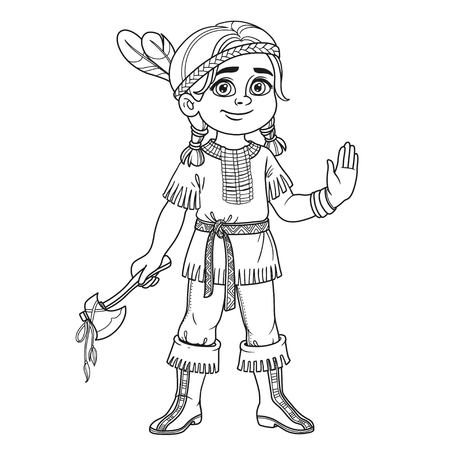 Cute boy in Indian costume outlined for coloring page