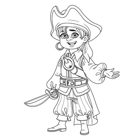 Cute boy in pirate costume outlined for coloring page.