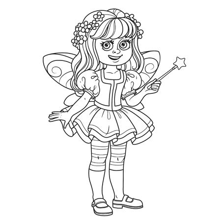 Cute Girl In Fairy Costume With A Magic Wand Outlined For Coloring